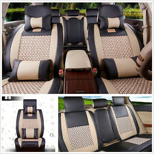 Universal 5-Seat Car Cooling Mesh+PU Leather BLK/BGE Seat Covers Front+Rear Set