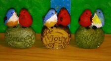 3 Blue & Red Bird Pair Resin Figurine Knick knack Inspirational garden / indoor