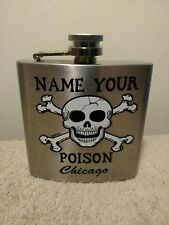 Stainless Steel Hip Flask Name Your Poison Chicago Skull Crossbone Hinged Cap