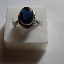 Bague Ring Anello argent silver overlay bleu blue T. 8