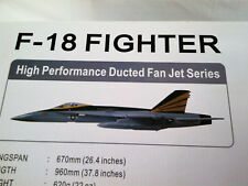 "AIRFIELD F-18 FIGHTER ARF JET MODEL AIRPLANE  26"" WING NIB #93A18 DUCT FAN ESC"