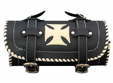 Black Motorcycle Leather Tool Bag with creme Iron Cross and Triming Biker rool