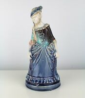 19thC Antique Prattware Staffordshire (23cm) Woman Figure Candle Snuffer Hollow