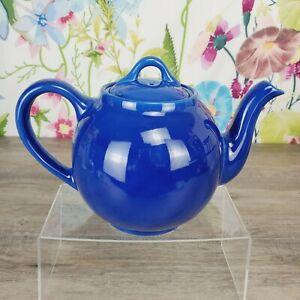 Vintage Hall Teapot with Lid  Dark Blue White Rim #1097 USA