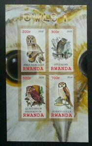 [SJ] Rwanda Owl 2010 Bird Of Prey Fauna (miniature sheet) MNH *imperf