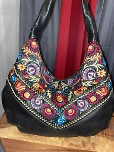 Beautiful Isabella Fiore Leather Embroidered Handbag