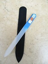 "Mont Bleu Sky Blue Czech Crystal Glass Nail File with Dichroic Glass 5 1/2""  New"