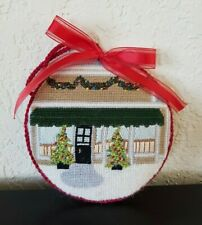Hand Stitched Needlepoint Christmas Ornament Home with Garland and Trees