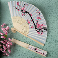 Unqiue Chinese Folding Hand Fan Japanese Cherry Blossom Design Silk Costume Ws