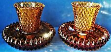 2 Vtg 2pc Indiana Glass Amber Diamond Point Candle Holders W Pegged Votive Cups