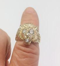 10K GOLD LION'S HEAD GENTS MENS RING w/diamonds  , HANDMADE. RETAIL $1499