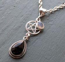 925 Sterling Silver pentagram Golden Seraphinite Labradorite Pendant Pagan Wicca