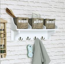 Wicker Storage Unit With 3 Baskets And Coat Hooks Hangers Shabby Chic Shelf Kit