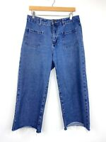 Cotton On Womens Wide Leg Jeans Retro Vintage Style 70s 90s Cropped Size 12