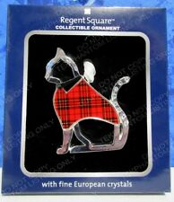 Pet Cat Plaid Christmas Ornament Regent Square Chrome Red European Crystals New