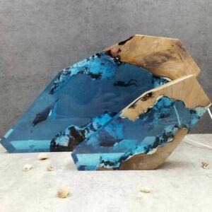 Blue Diver Humpback Whale Epoxy Table Lamp Handmade Resin Ocean Luminous Decor