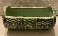 Vintage 1960s McCoy Mid Century Green Footed Basket Weave Log Planter  Pottery