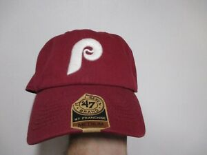 """PHILADELPHIA PHILLIES 47 BRAND FITTED (MED) SLOUCH FIT HAT NWT $30 RED """"P"""" LOGO"""