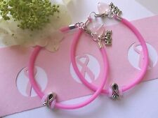 2- BREAST CANCER  AWARENESS  BRACELETS WITH RIBBON/HOPE CHARMS/HEART