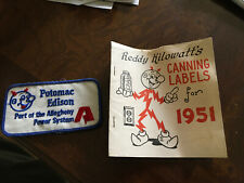 Vintage 1951 Reddy Kilowatt Home Canning Labels and Potomac Edison Fabric Patch