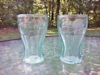 "Coca Cola Coke 2.5 Oz Embossed Logo 3"" Green Drink Shot Glass Set Of 2 NEW"