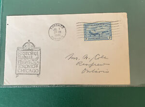Canada FDC First Official Airmail Flight Toronto- Chicago 1946