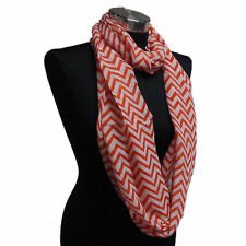 Chevron Sheer Infinity Scarf Ruby Red Contrasting Colors Soft Gift US Seller