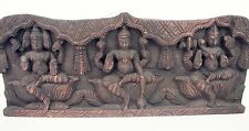 Handmade Rare Carved India Wood Vishnu Brahma Shiva Statue Temple Yoga Carving
