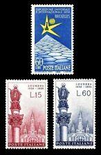 ITALIA 1958 754/55 + 759 APARICIÓN LOURDES. EXP. BRUSELAS