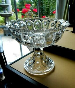 Fostoria Glass LARGE Compote Louise Starred Jewel #112  Antique 1902