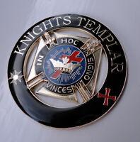 ZP143 LARGE Knights Templar Enamel badge Freemason With Self Adhesive back