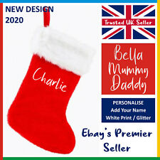 PERSONALISED CHRISTMAS STOCKING: Red or Green *Add Your Name* XMAS Printed
