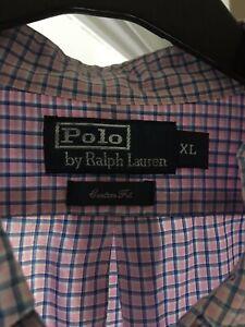 Ralph Lauren Long Sleeve Shirt Pink Checked Polo Men's XL Custom Fit