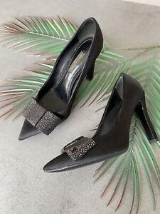 Auth Louis Vuitton silk atlas heels shoes black stingray leather bow Sz 36,5