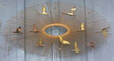 "Vtg Mid Century Modern MCM Wall Art Decor Sunburst Birds C JERE Style 36"" x 19"""