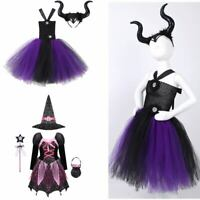 Girls Halloween Carnival Witch Costume Kids Holiday Party Tulle Dress Outfits