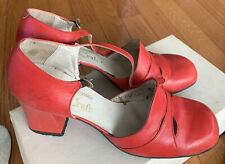 Vintage 60s / 70s Bright Red Mod Chunk QuaIcraft Heel 8 1/2� Strap Shoes