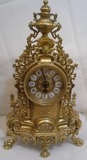 Italian antique gold with roman numerals brass table clock very ornate