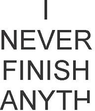 I never finish anything decal sticker ute BNS truck car  float 11.5 x 9 cm