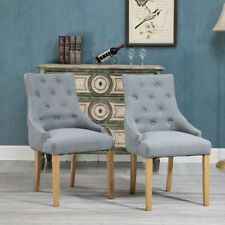 Set of 2dining Accent Chair Curved Button Tufted Fabric Upholstered Grey Kitchen