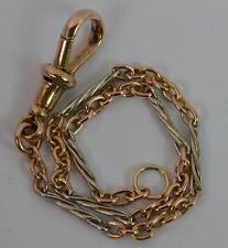 "Victorian 15ct Gold Twist Link Ladies Pocket Watch Chain 7"" Long Bracelet t0780"