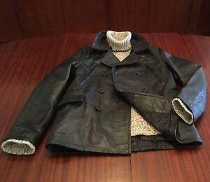 NWT Cowhide Designer Luxury Heavy-Duty Leather Jacket Pea Coat Men's Black M