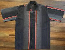 Vintage Gochu Shirt Black w White & Red Vertical Stripes Men's XL Bowling Style