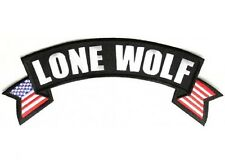 """(L32) LONE WOLF with FLAG 11"""" x 4.5"""" Large TOP ROCKER iron on back patch (1002)"""