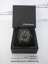 Original Audi Uhr,Audi Armbanduhr, Audi Sport Uhr, Audi Dreizeigeruhr schwarz