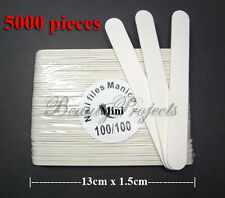 5,000pcs Mini Manicure Nail File White 100/100 Grit Wood Center 13cm Bulk Lot