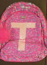 New Pink Justice Flip Sequins Backpack Initial T Silver Sparkle Full Size