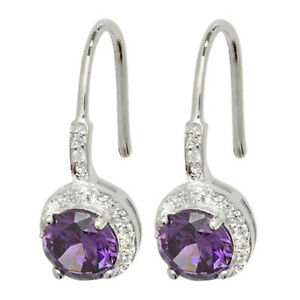 Sterling Silver White and Amethyst Cubic Zirconia Round Drop Earrings Jewellery