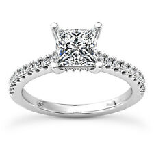 Solitaire 1 Carat Natural Princess Diamond H/VS2 Engagement Ring 14K White Gold