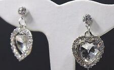 """New Heart Shape Clear Faux Stone Silver Tone Setting 1.25"""" Dangle Earrings"""